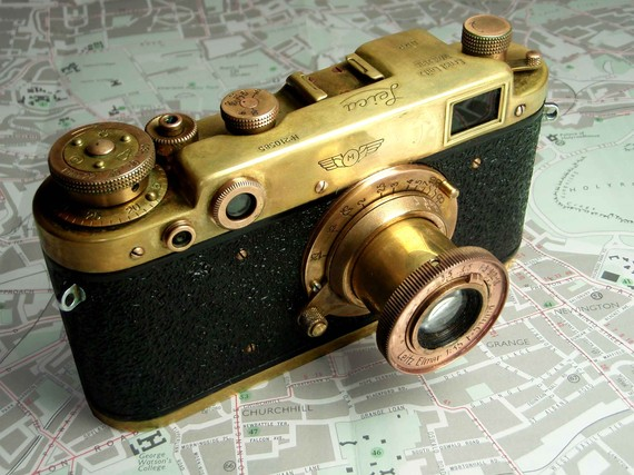 Vintage brass camera Russian copy of Leica II by AfternoonTrain.