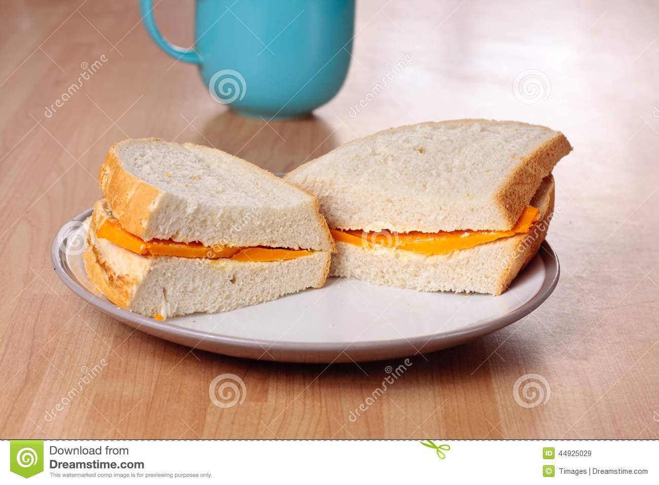 Cheese Sandwich And Mug Stock Photo.