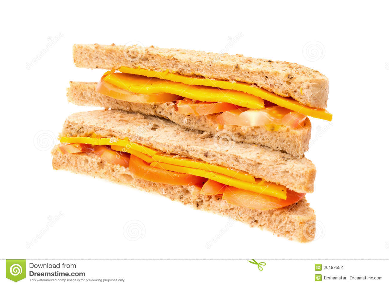 Cheese And Tomato Sandwich Stock Photography.