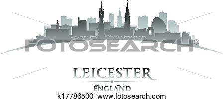 Clipart of Leicester England city skyline silhouette white.