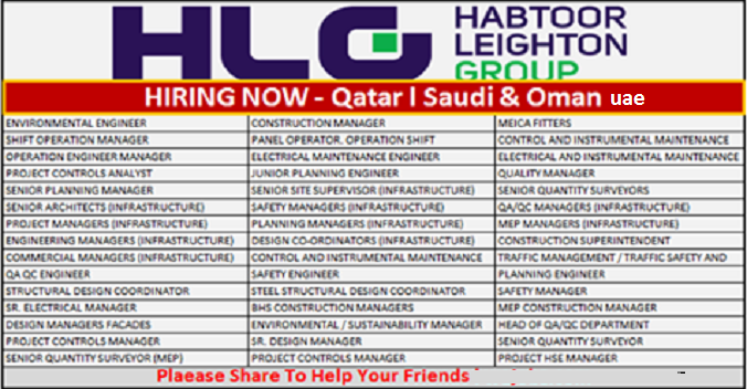 Latest #Jobs at #HLG (Habtoor Leighton Group) 2017.