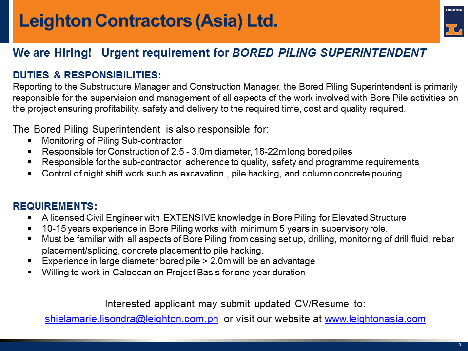 Openings for Bored Piling Superintendent Leighton India.