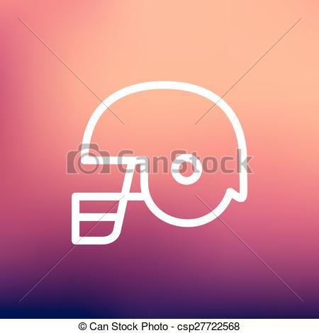 Clip Art Vector of Football helmet thin lien icon.