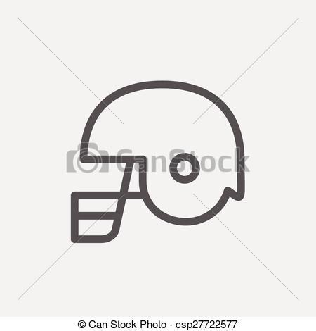 Vectors Illustration of Football helmet thin lien icon.
