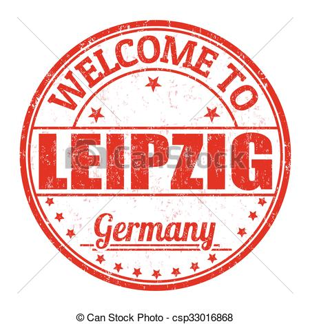 Clip Art Vector of Welcome to Leipzig stamp.