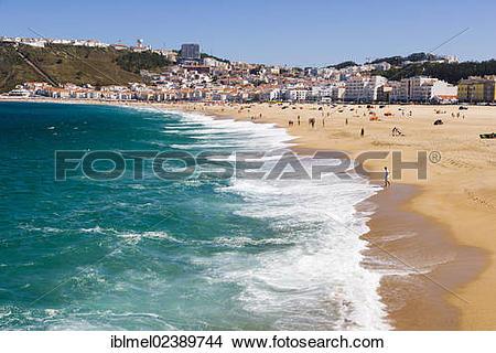 "Stock Photo of ""Sitio and Praia da Nazare beach, Nazare, Oeste."