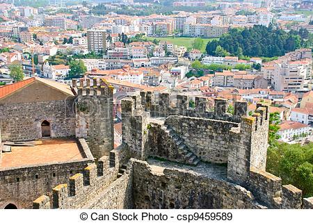 Stock Photographs of Leiria city with castle.