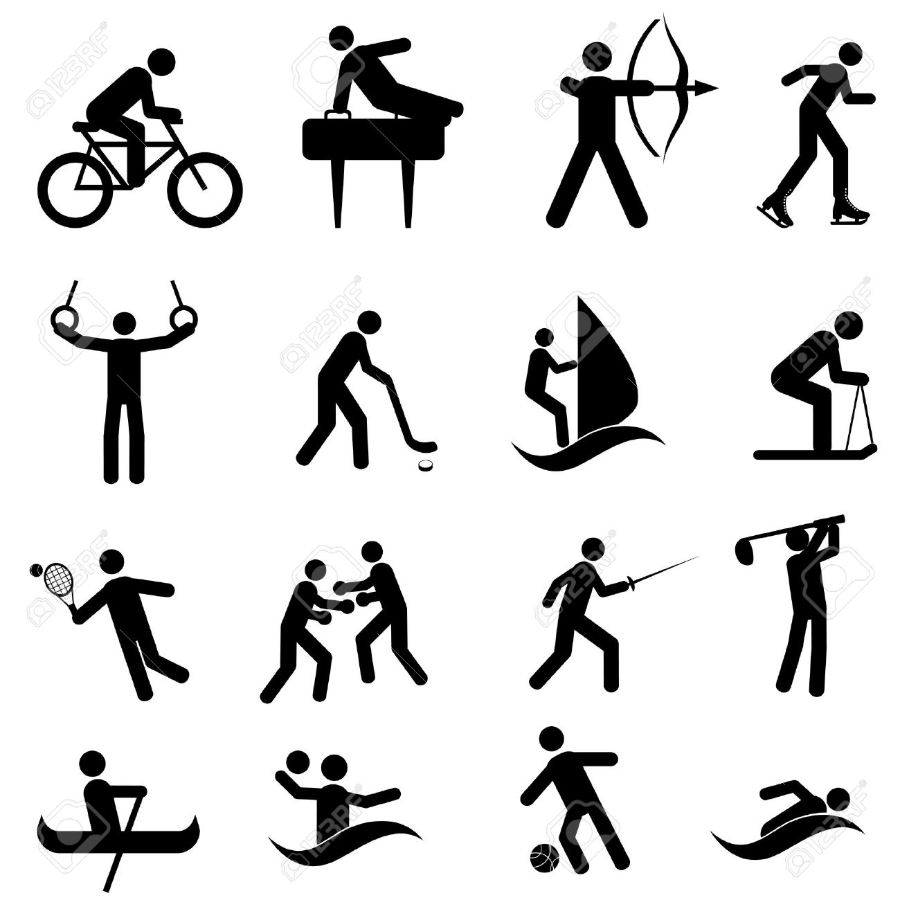 Sports And Athletic Icon Set In Black Royalty Free Cliparts.