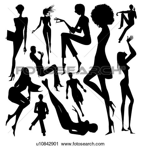 Clipart of Set of silhouette of the woman doing leisure activity.