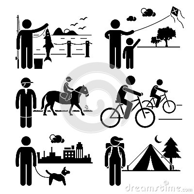 Recreational Outdoor Leisure Activities Clipart Stock Vector.