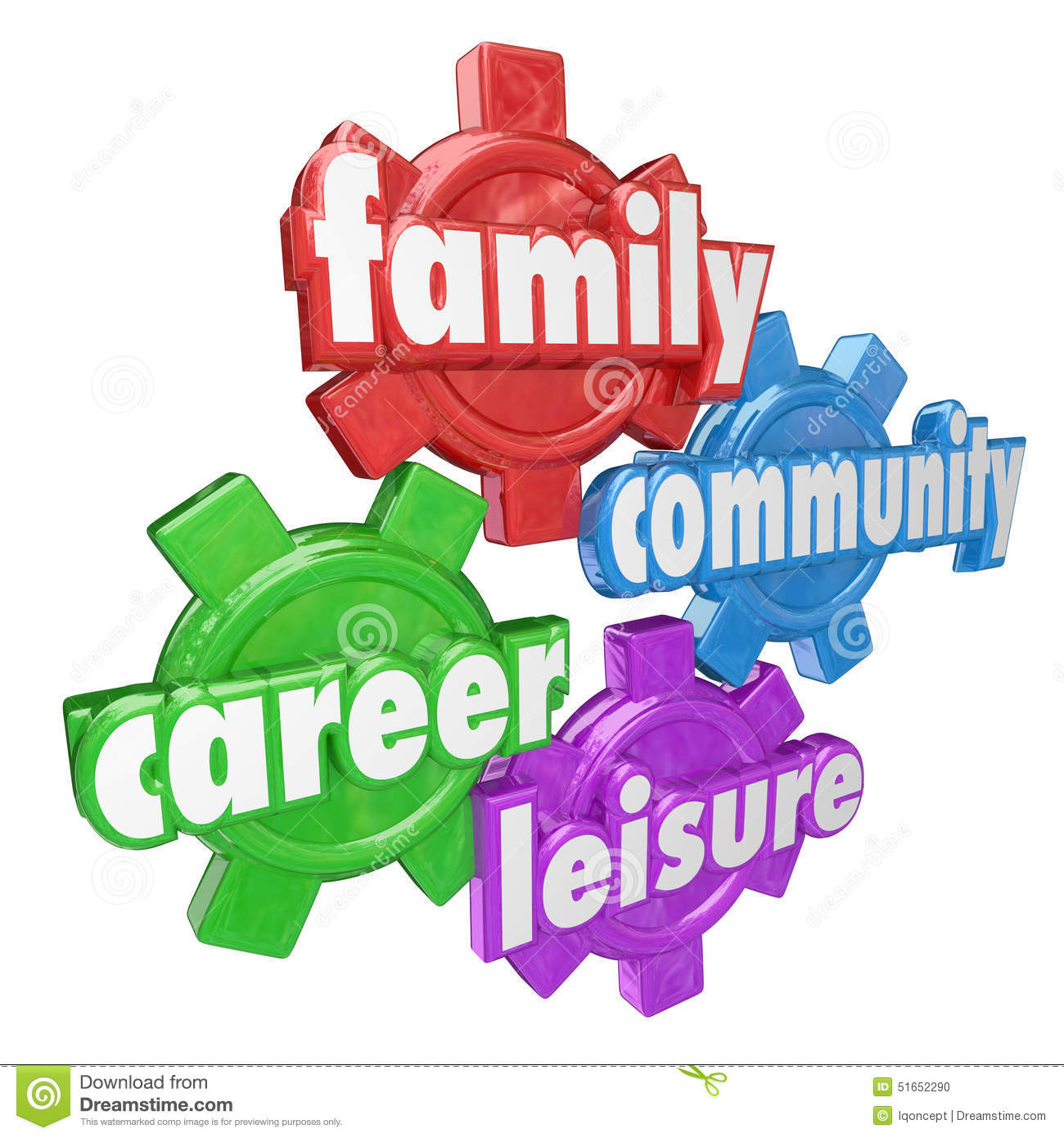 Family Career Community Leisure Words Spending Balancing Time Ge.
