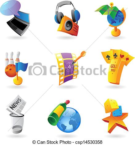 Clipart Vector of Icons for leisure, travel, sport and arts.
