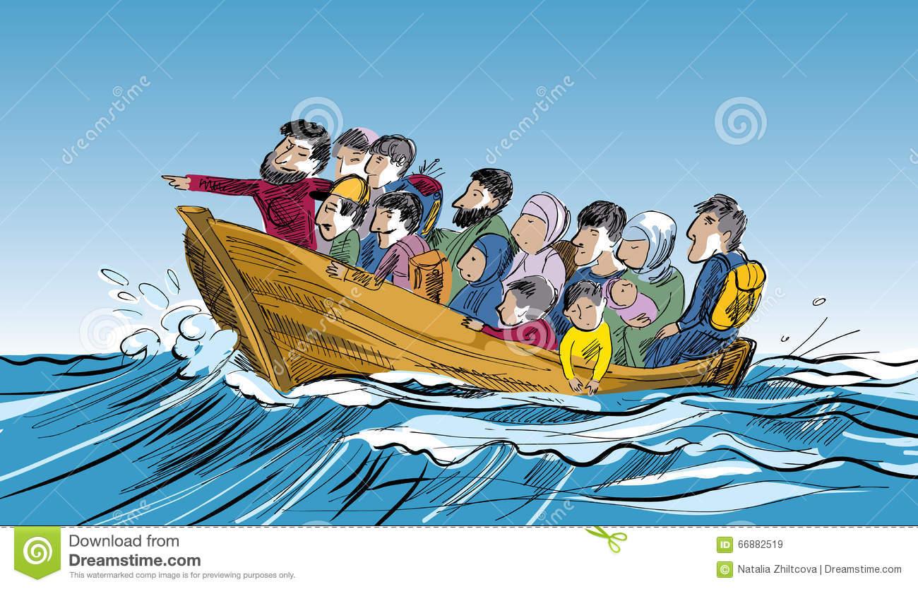 Refugee Boat Clipart.