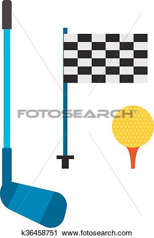 Clipart of Set of golf club tee and ball sport leisure equipment.