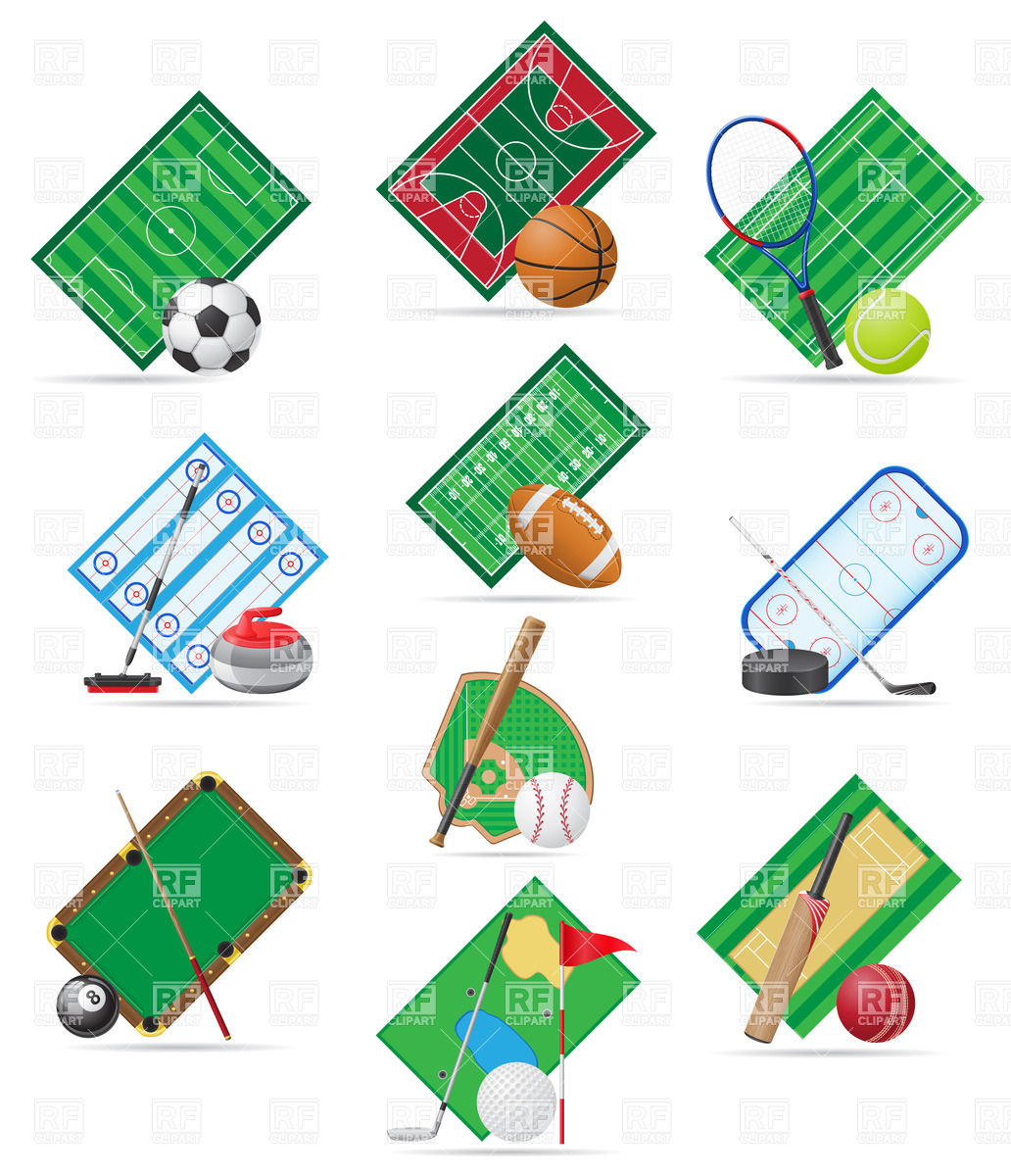 Sport fields, balls and equipment Vector Image #20977.