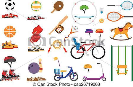 Clip Art Vector of Childrens sports equipment for fun and leisure.