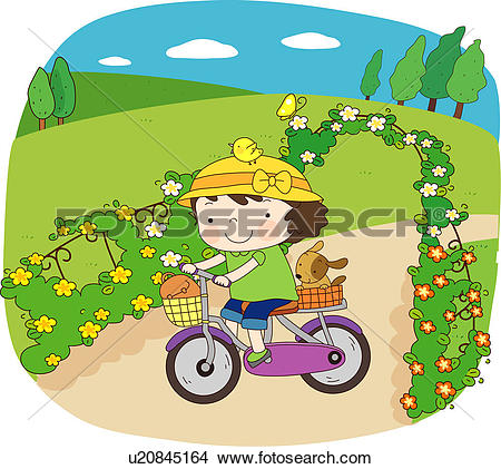 Drawings of bicycle, leisure, park, dog, pet dog, riding.