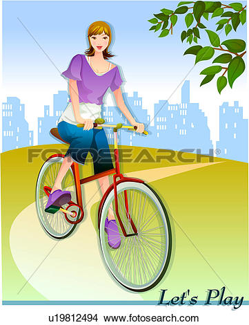 Drawings of recreation, sports, leisure, park, outdoors, bicycle.