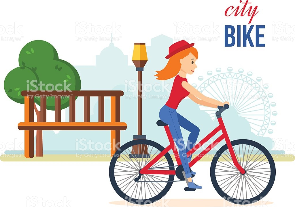 Girl In Summer Clothes Riding A Bike For Leisure Park stock vector.