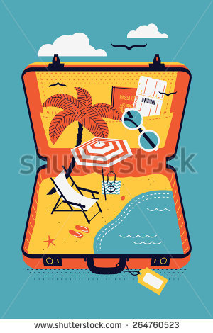 Creative Colorful Vector Concept Design On Travel, Seaside Leisure.