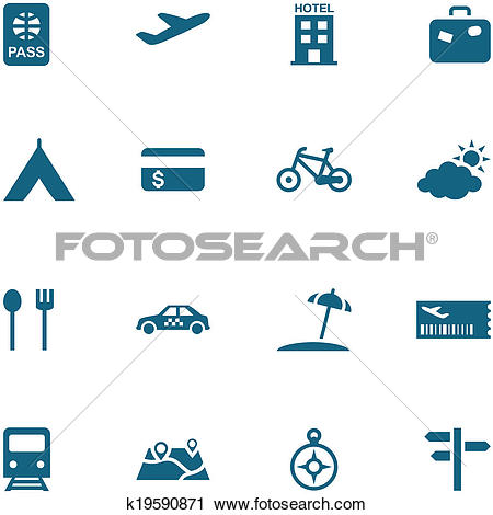 Clipart of Travel, leisure and tourism icon set vector. k19590871.