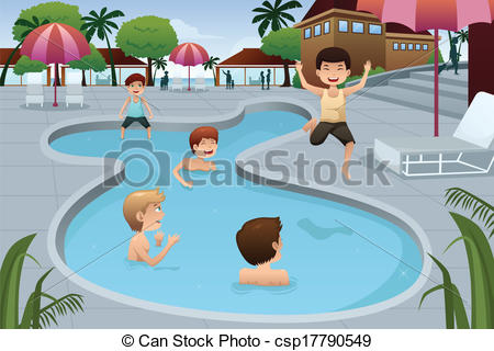 EPS Vector of Kids playing in an outdoor swimming pool.