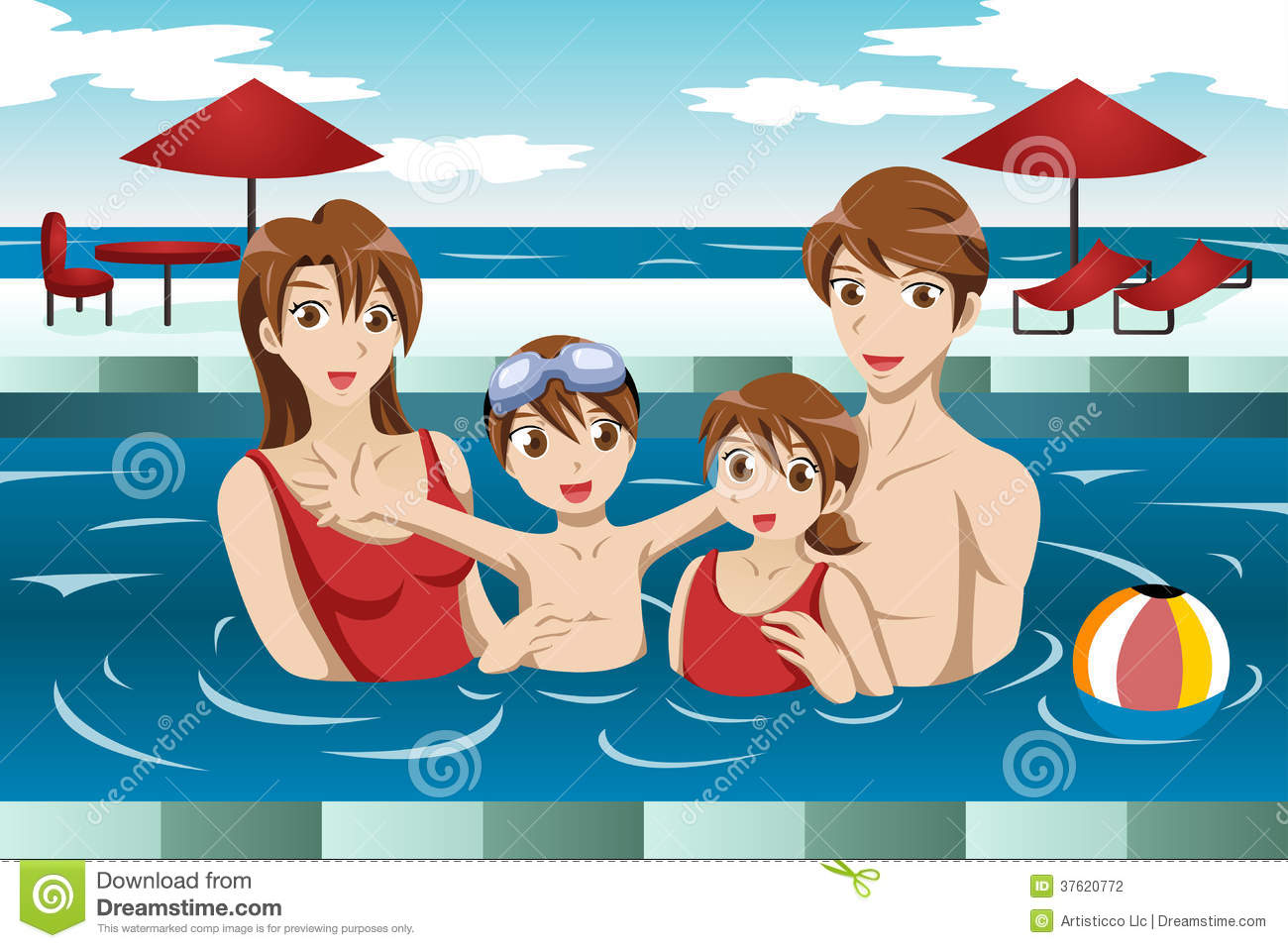 Family In A Swimming Pool Stock Photography.
