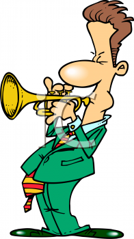 Cartoon of a Guy Playing a Trumpet.