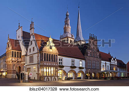 "Pictures of ""Town square with town hall and St. Nicholas' Church."