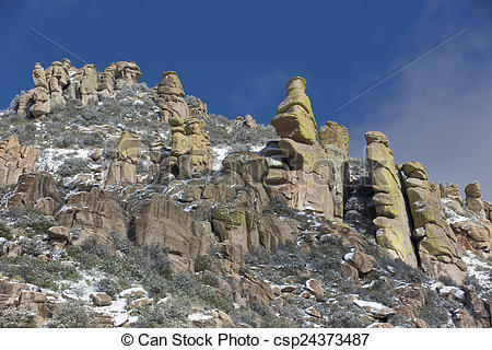 Pictures of Mt. Lemmon Hoodoos Touched with Light Snow.