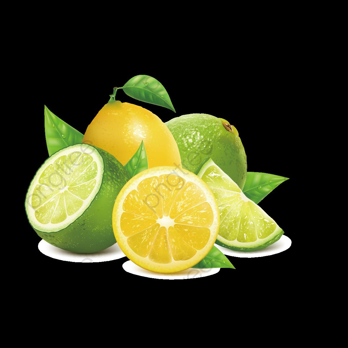 Vector Lime And Yellow Lemon, Lemon, Lime, Lemon Yellow PNG.