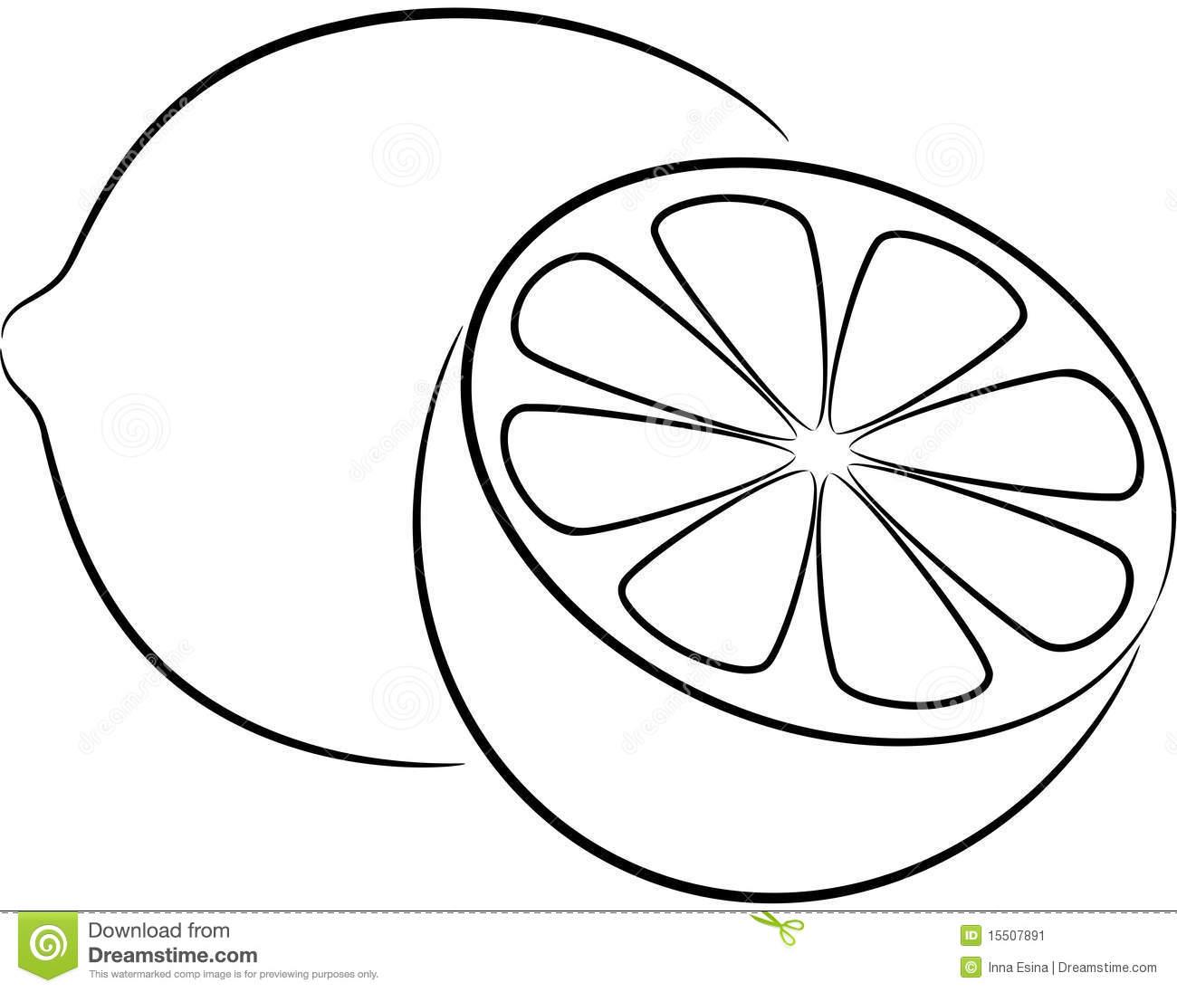 Clipart Lemon Black And White.