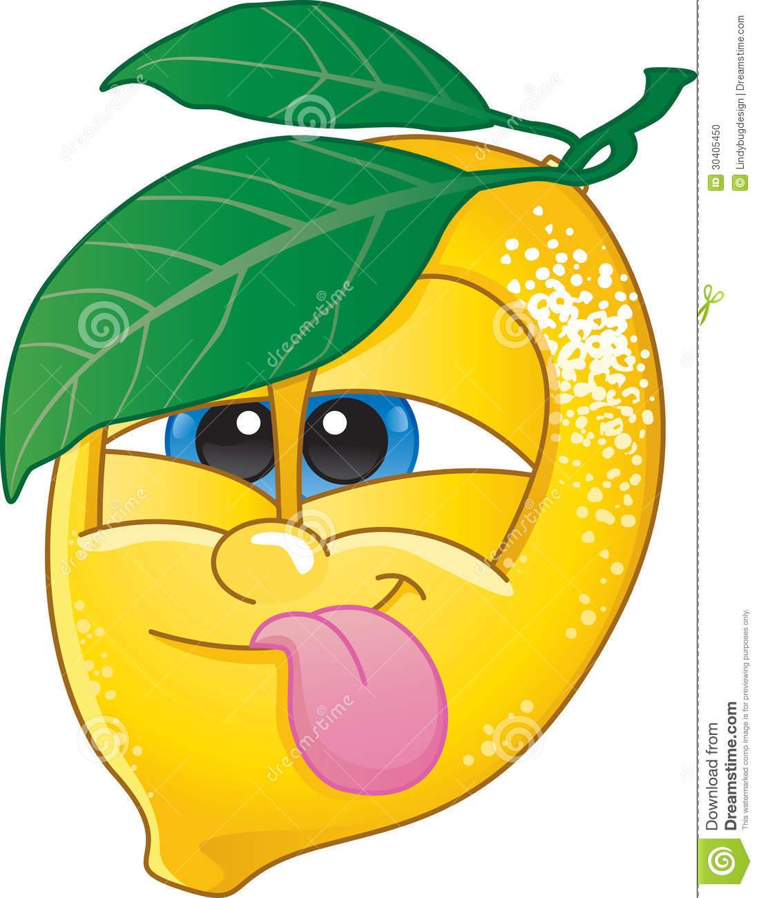 Lemon clipart with cute face.