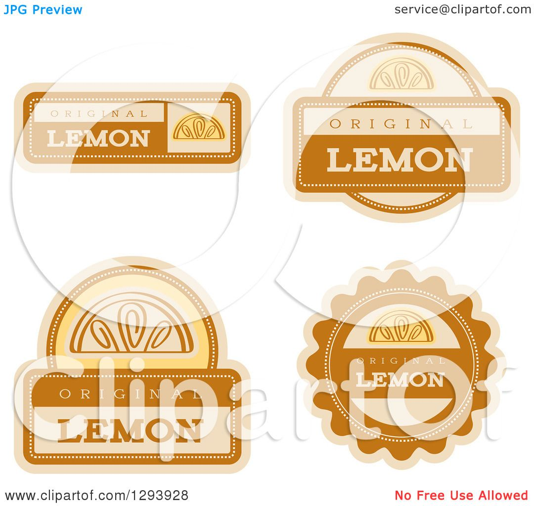 Clipart of a Set of Lemon Fruit Flavor Labels.