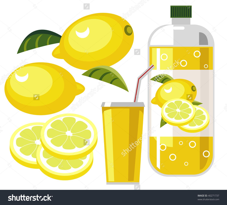 Lemonade Lemon Flavored Soda Bottle Cup Stock Illustration.