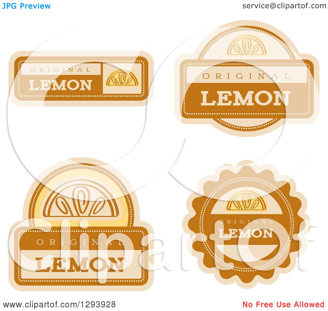 Clipart of a Set of Lemon Fruit Flavor Labels.
