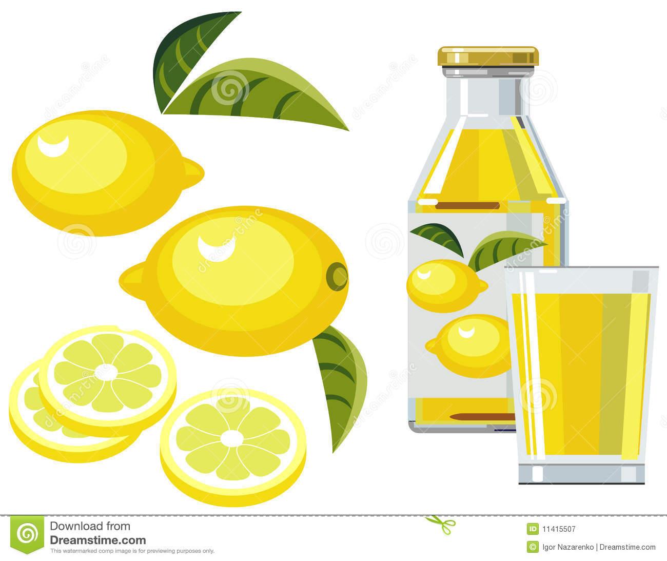 Lemon Juice With Bottle, Glass And Lemons Royalty Free Stock.