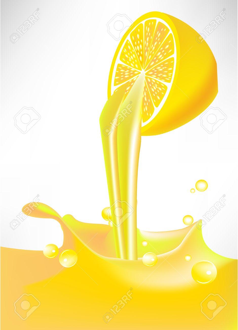 Fresh Lemon Juice Splash Pouring From Fruit Royalty Free Cliparts.