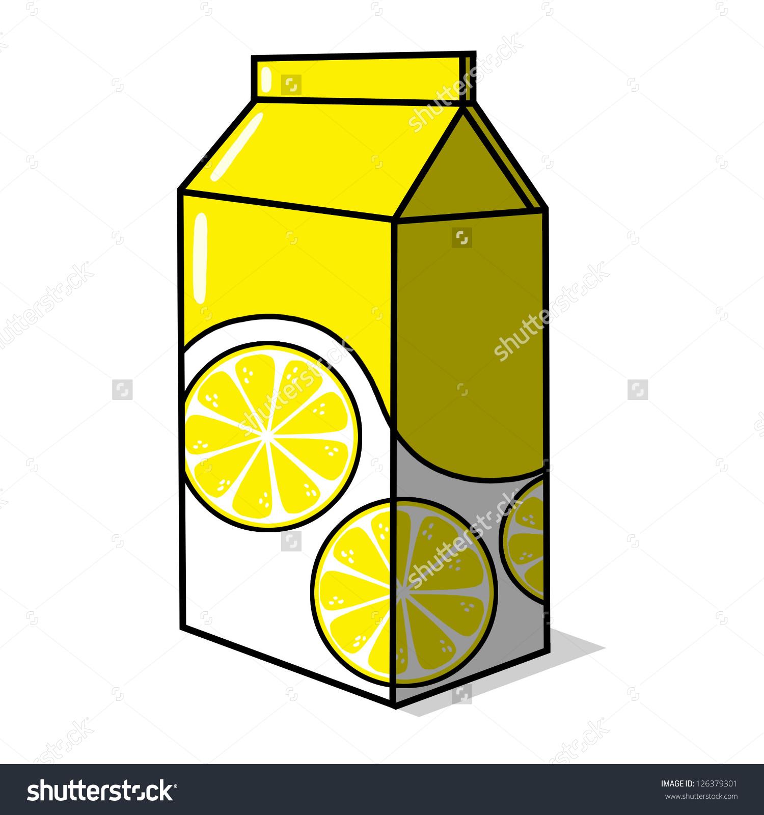 Lemonade Carton Illustration Lemon Juice Box Stock Illustration.