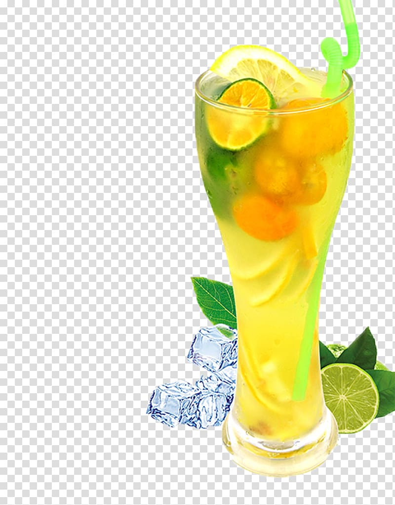 Juice with sliced lemon and lime fruit illustration, Lemon.