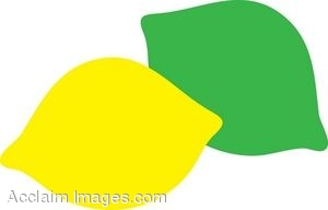 Clip Art Picture of a Simple Lemon and Lime.