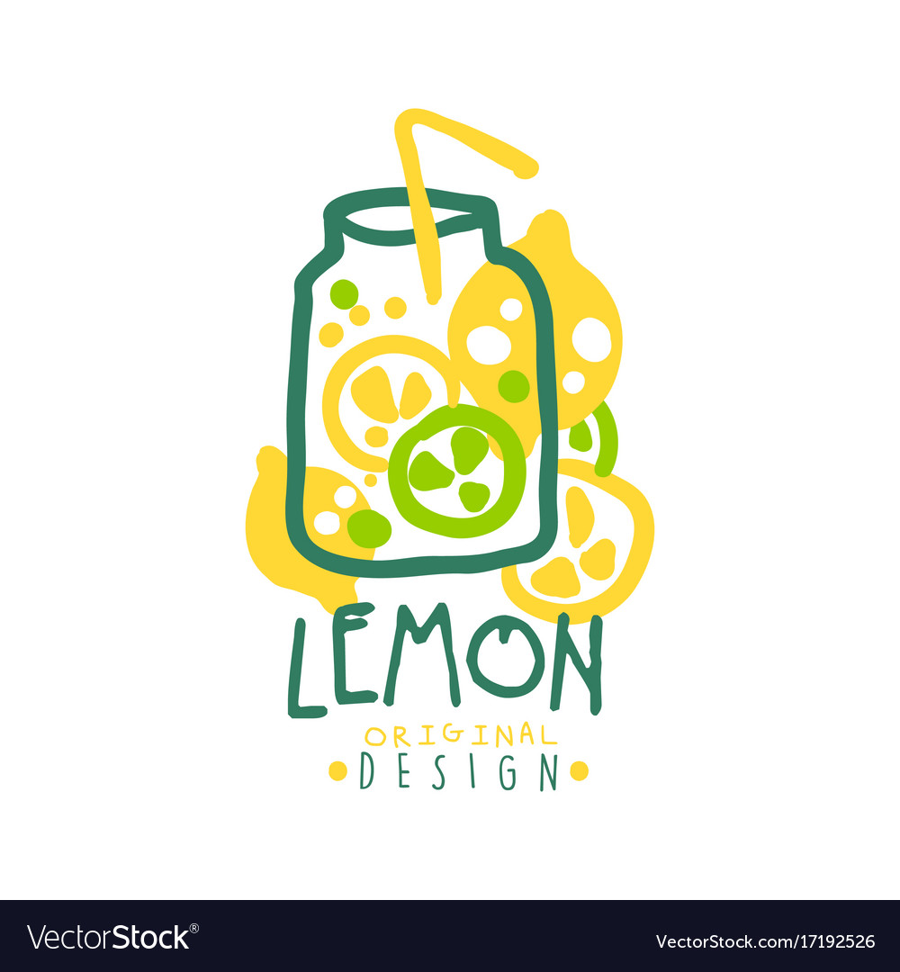Lemon logo template original design colorful hand.