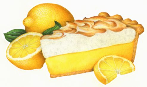Lemon meringue pie with a whole lemon, cut lemon half and a.