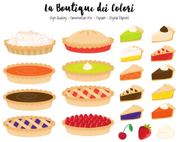 Pie Clipart, Cute Graphics PNG, Pumpkin pie, strawberry pie.