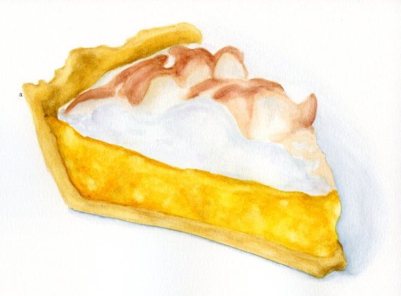 Slice of Lemon Meringue Pie ORIGINAL Painting por.