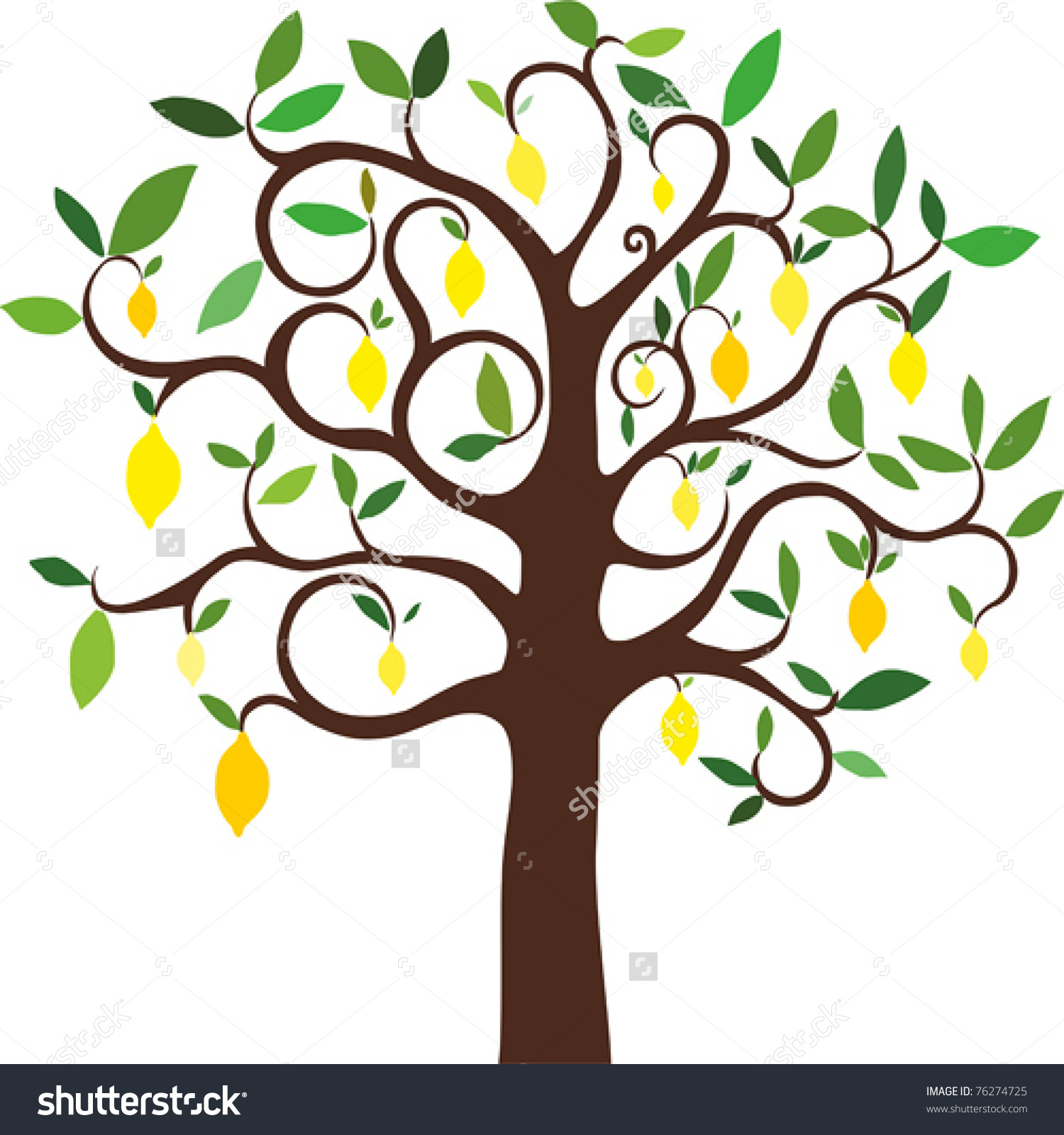 Vector Lemon Tree Stock Vector 76274725.