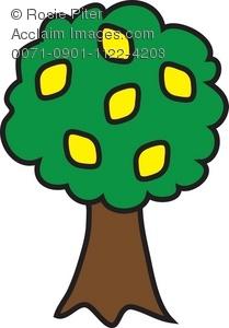 Clip Art Illustration of a Lemon Tree.