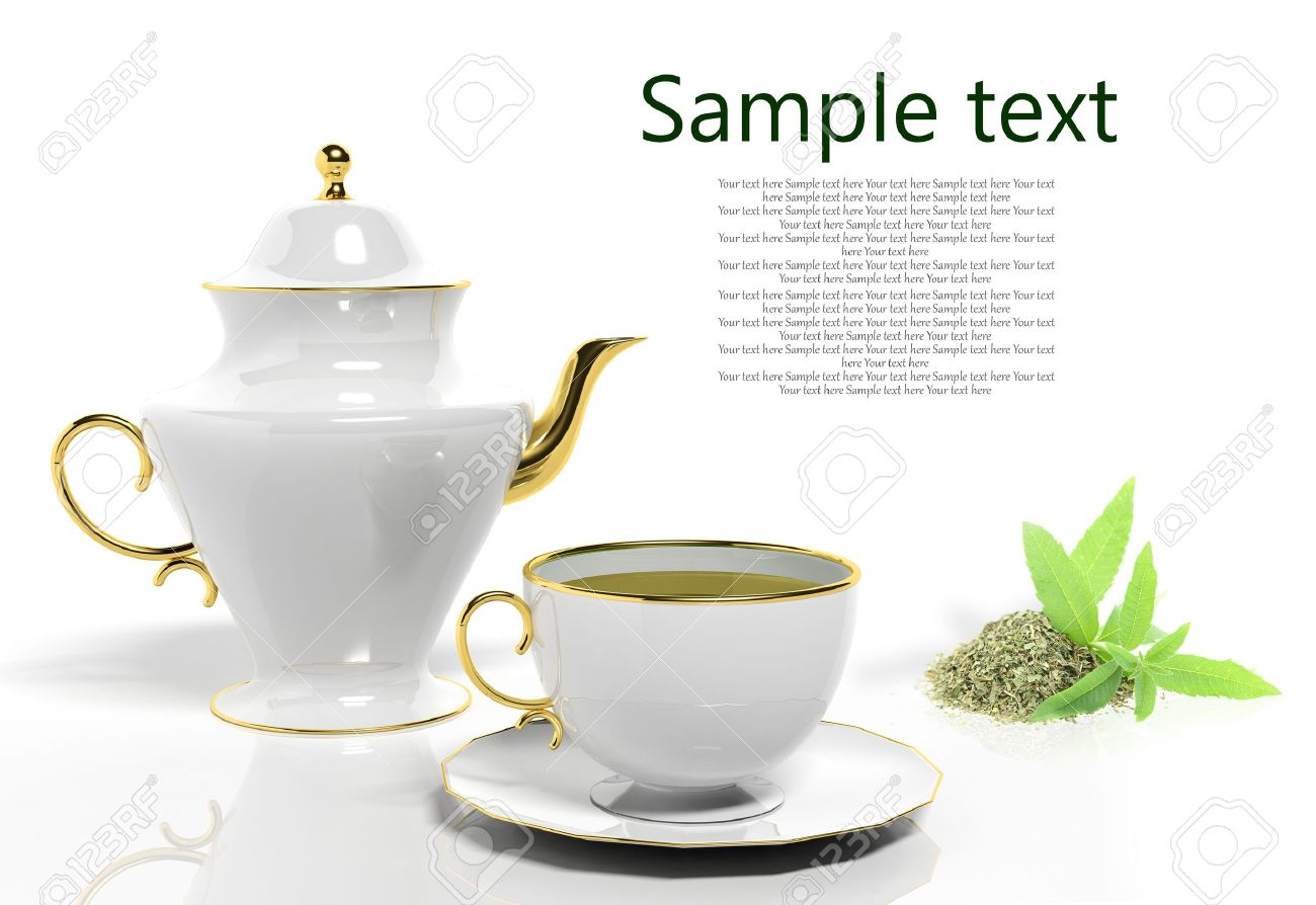 Teapot And Teacup With Lemon Verbena Stock Photo, Picture And.