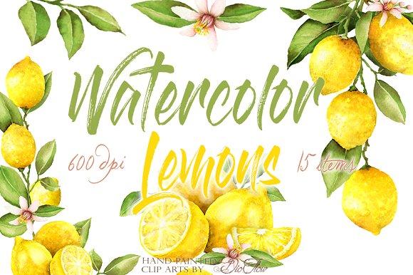 Watercolor Lemon Clip Art.
