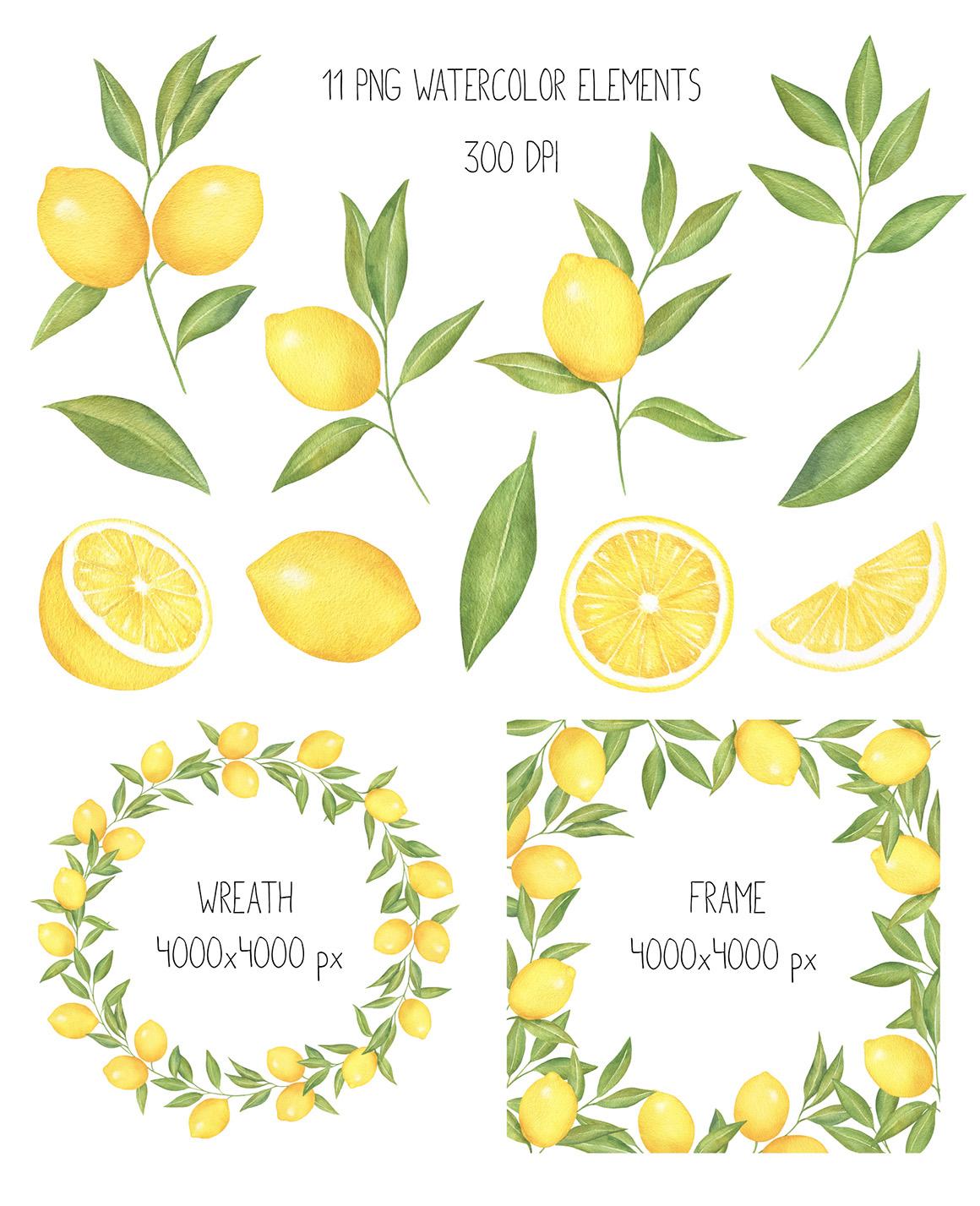Lemon and Citrus Watercolor Clipart, Lemon wreath, seamless.
